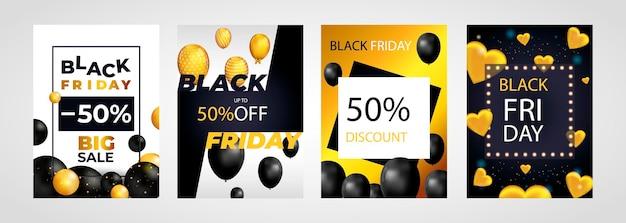 Black friday sale set posters of flyers ontwerpen met ballonnen en confetti