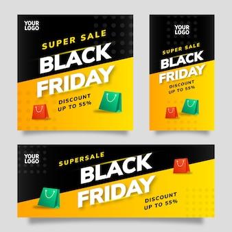 Black friday sale social media template flyer banner met zwarte en gele achtergrond en groen en rood element