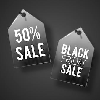 Black friday sale tags ontwerpconcept.