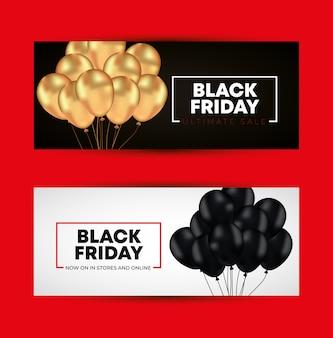 Black friday-sjablonen met gouden en zwarte ballonnen