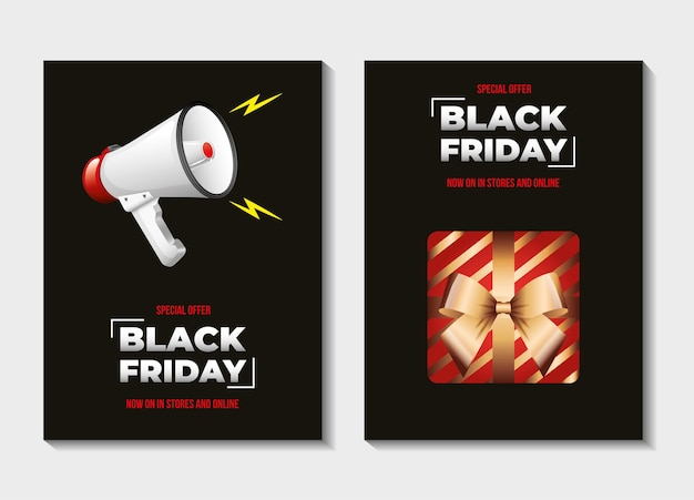 Black friday-sjablonen met megafoon en cadeau op zwarte achtergrond