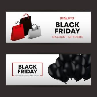 Black friday-sjablonen met zwarte ballonnen en tassen