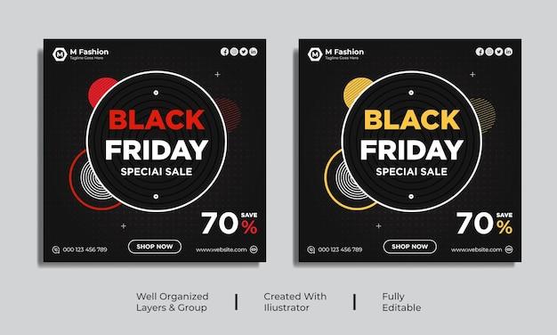 Black friday social media post banner sjabloon vector premium vector