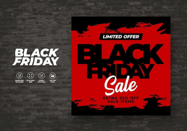 Black friday social media post feed korting banner sjabloon