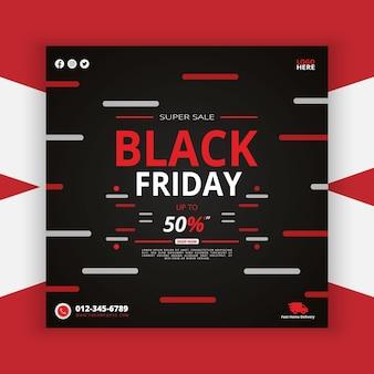 Black friday social media post met super sale vijftig korting poster in aanbieding promotie best style premium