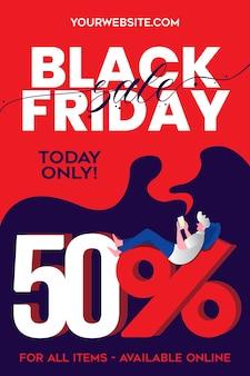 Black friday special discount met een jongen die graag winkelt met zijn gadget