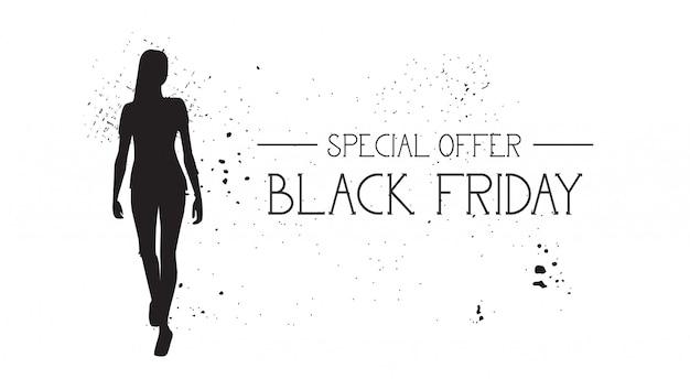 Black friday-speciale aanbiedingbanner met grunge rubbermannequin vrouwelijk silhouet op wit