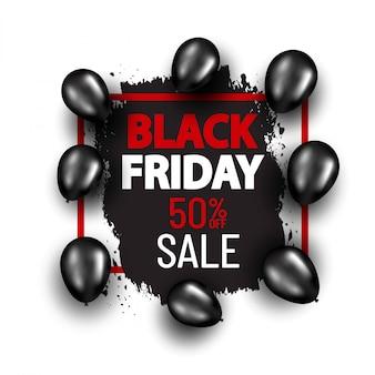 Black friday-speciale aanbiedingbanner met zwarte ballons. winkelen banner concept