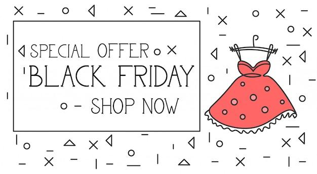 Black friday-speciale aanbiedingbanner shop now-tekst over rode kleding en manierkleren in dunne rug