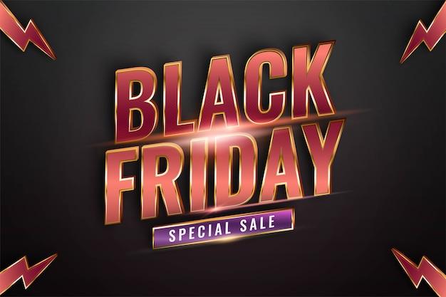 Black friday speciale verkoop met effect thema metaal rood goud kleur concept voor trendy flayer en banner sjabloon promotiemarkt online