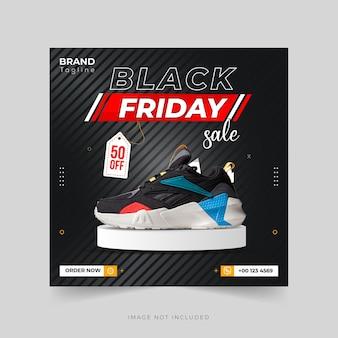 Black friday-sportschoenenverkoop instagram-post- of spandoeksjabloon premium vector