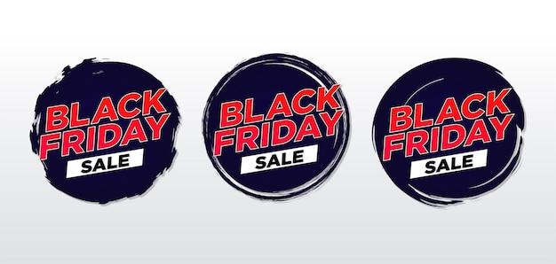 Black friday sticker set met ovale grunge en