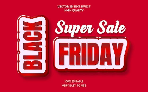Black friday super sale 3d-tekststijleffectsjabloon premium vector