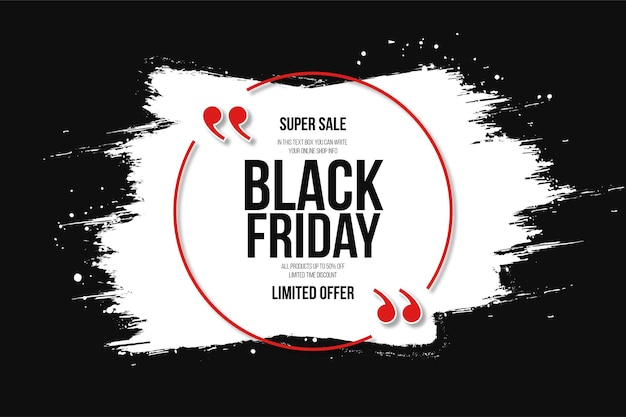 Black friday super sale met white splash backgrund