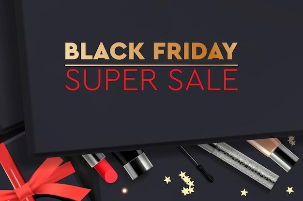 Black friday super sale. zwarte geschenkdoos met cosmetische producten.
