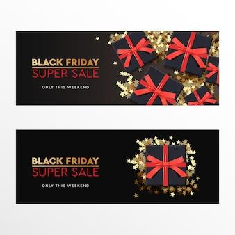 Black friday super sale. zwarte geschenkdoos met rode strik op donkere achtergrond. vector illustratie