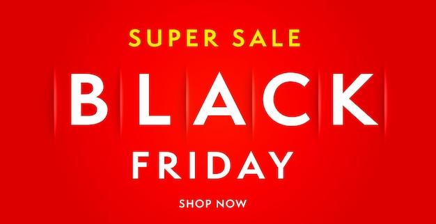Black friday super verkoop minimale webbanner ontwerpsjabloon. realistische poster e-commerce en internetpromotie marketingcampagne in sociaal netwerk of website vectorillustratie