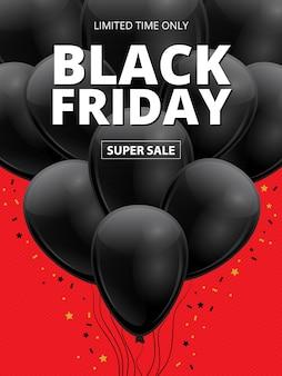 Black friday-superverkoop. realistische 3d-glanzende donkere ballons met gouden sterren