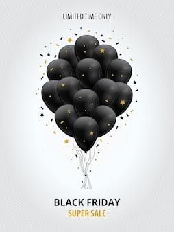 Black friday-superverkoopsjabloon met zwarte ballons en gouden sterren en slingers.