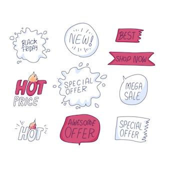 Black friday-symbolen markeren uit de vrije hand tekenen van illustratie