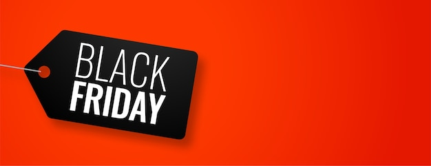 Black friday-tag op rode banner met tekstruimte