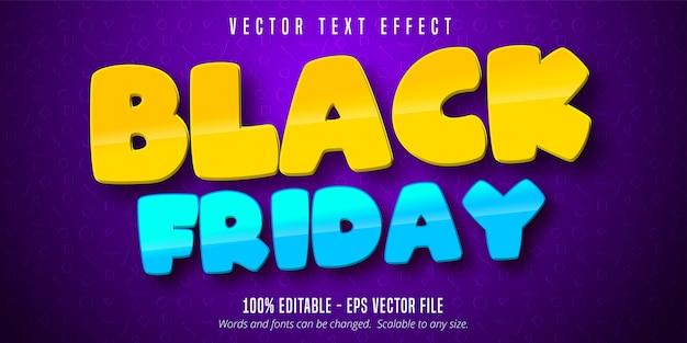 Black friday-tekst, bewerkbaar teksteffect in cartoonstijl