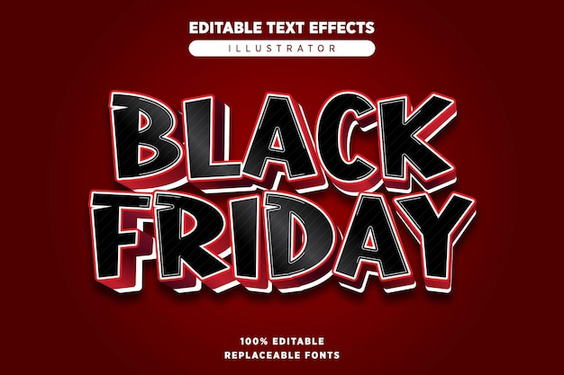 Black friday-teksteffect bewerkbaar