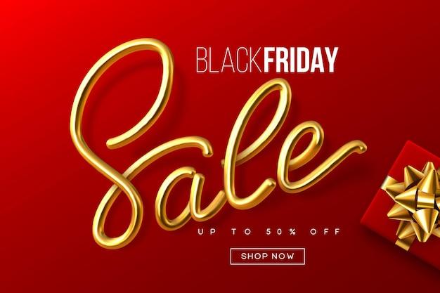 Black friday typografisch ontwerp. handgeschreven metalen kalligrafieteken verkoop met geschenkdoos. sjabloon voor spandoek verkoop. rode achtergrond. vector.