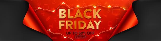 Black friday-uitverkoop 50% korting op poster met led-lichtslingers voor detailhandel