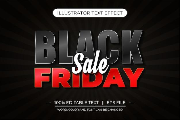 Black friday-uitverkoop bewerkbaar teksteffect zwart en rood vectorteksteffect