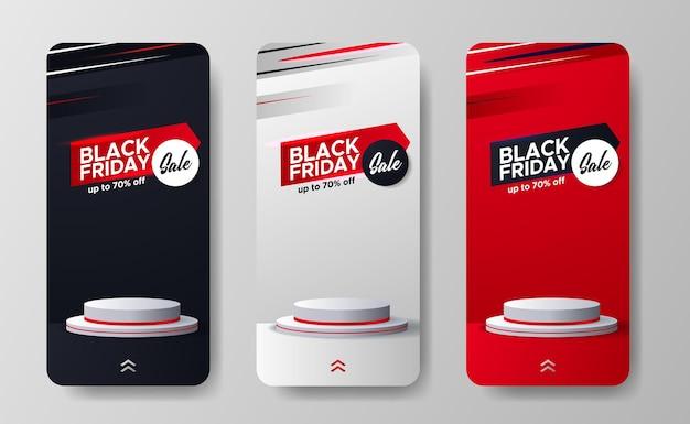 Black friday-uitverkoop biedt kortingspromotie voor verhalen op sociale media met cilinderpodiumdisplay