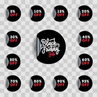 Black friday-uitverkoop en kortingsstickerset. procent prijskaartje.
