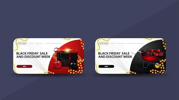 Black friday-uitverkoop en kortingsweek, witte kortingsbanners versierd met slinger, knop en kruiwagen met cadeautjes Premium Vector
