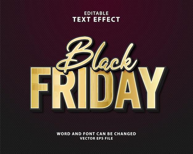 Black friday-uitverkoop goud 3d bewerkbaar teksteffect