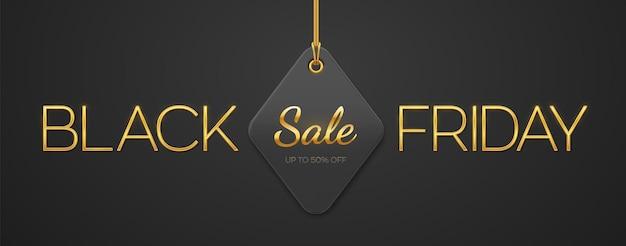 Black friday-uitverkoop. gouden metalen luxe letters black friday en prijskaartje coupon opknoping op gouden touwen op zwarte achtergrond. horizontale banner, websitekoptekst, poster. vector illustratie.
