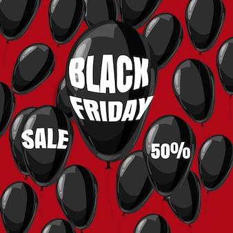Black friday-uitverkoop, korting, poster met zwarte ballonnen, cartoonstijl