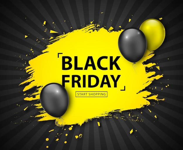 Black friday-uitverkoop. kortings grunge banner met ballons