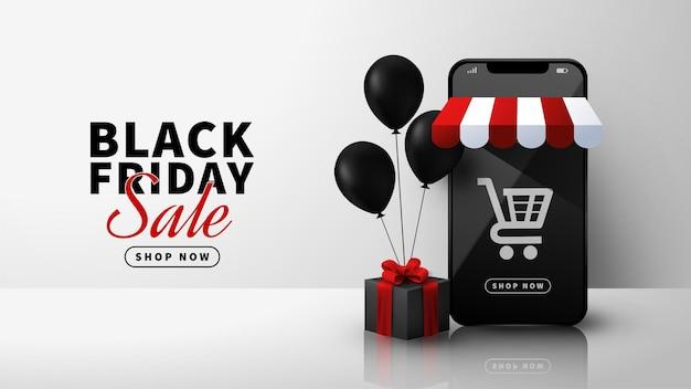 Black friday-uitverkoop met 3d-smartphone en ballondecoratie