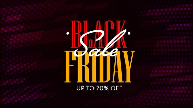 Black friday-uitverkoop met prijsverlagingen tot 70 procent. korting webbannersjabloon aanbieding seizoensgebonden of vakantie groothandel. horizontaal posterontwerp dat reclame maakt voor goedkoop winkelen. vector illustratie