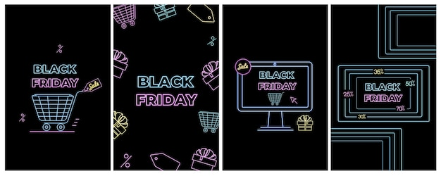 Black friday-uitverkoop. online winkelen, internetadvertenties in neonstijl. e-commerce. promotiebanners.
