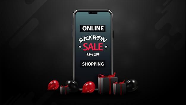 Black friday-uitverkoop, online winkelen, tot 25% korting, zwarte kortingsbanner met rode en zwarte ballonnen, cadeautjes en smartphone met aanbieding op scherm