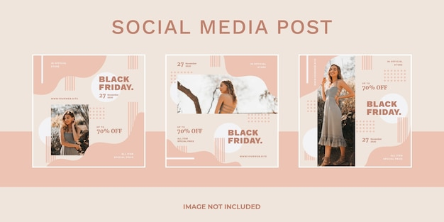 Black friday-uitverkoop social media post set