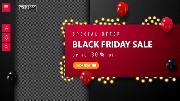Black friday-uitverkoop, tot 30% korting, rode en zwarte kortingsbanner met plaats voor uw foto, ballonnen in de lucht en slingerframe