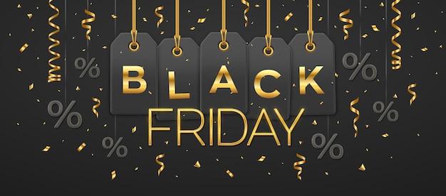 Black friday-uitverkoop, winkelpromotie. prijskaartje coupons opknoping op gouden touwen met gouden letters en procentsymbool voor black friday korting voor decoratie op zwarte achtergrond. vector illustratie.