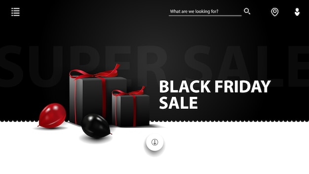 Black friday-uitverkoop, zwart-wit kortingsbanner voor website in minimalistische stijl met zwarte geschenken en ballonnen