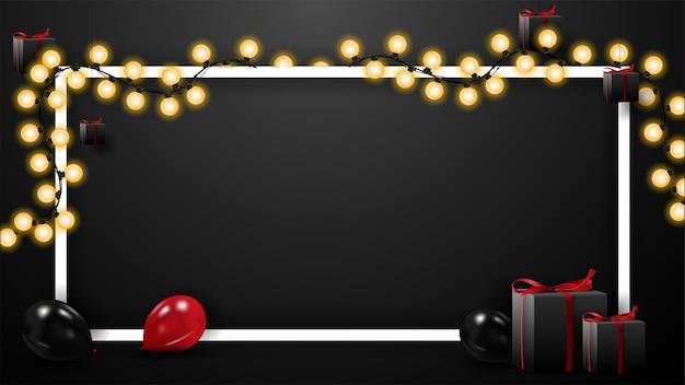 Black friday-uitverkoop, zwarte sjabloon voor uw kunsten met rode en zwarte ballonnen, cadeautjes, lijnkader met slinger en kopieer ruimte