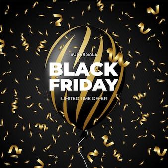 Black friday-uitverkoopkortingspromo zwarte en gouden ballon met gouden lint