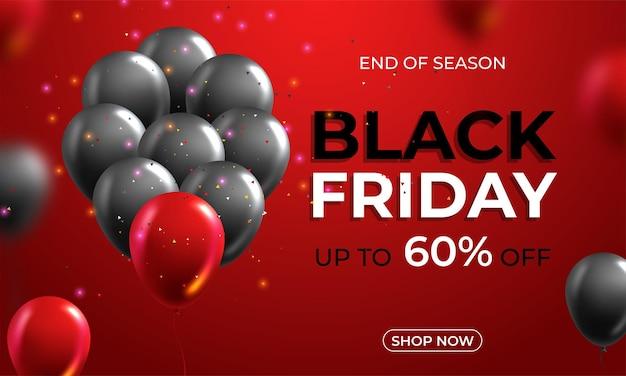 Black friday-uitverkoopposter met glanzende ballonnen