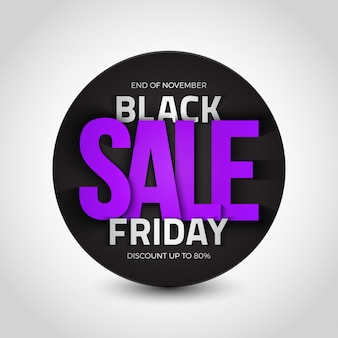Black friday-verkoop 3d ronde banner
