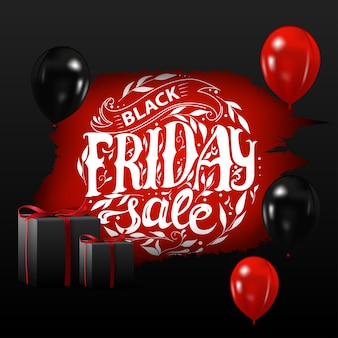 Black friday-verkoop. banner met zwarte ballonnen en geschenken